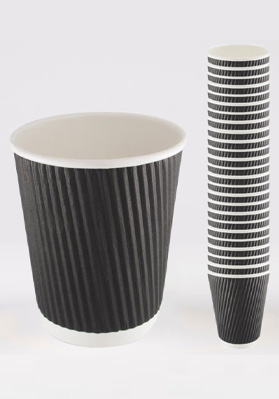 8oz Triple Walled Black Ripple Paper Cups 1x500
