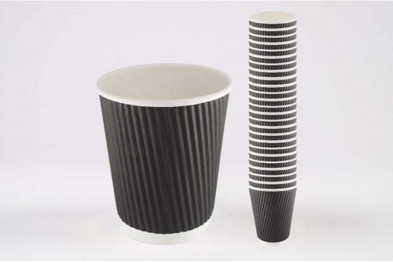 8oz Triple Walled Black Ripple Paper Cups 1x500