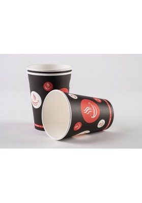 8oz Belgravia Red and Black Paper Cups 1x1000