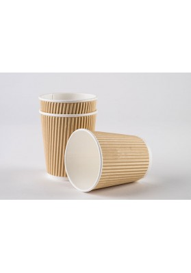 12oz Triple Walled Kraft Ripple Paper Cups 1x500